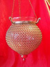 VINTAGE Vetro Globe Lanterna Plafoniera Lampadario Cotta di Maglia chainmaille