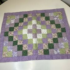 quilted pillow sham polyester pocket closure purple green floral print square
