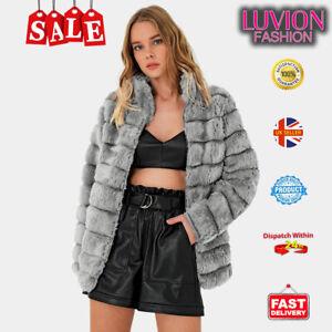 Women Fluffy Fur Jacket Warm Overcoat Outerwear Ladies Coat- GREY