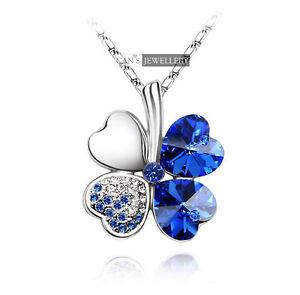 18K White GP Blue Heart Swarovski Crystal Four Leaf Clover Necklace N209