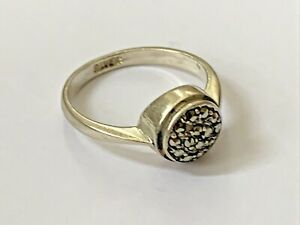 Vintage Sterling Silver Marcasite Ladies Dress Ring size - O