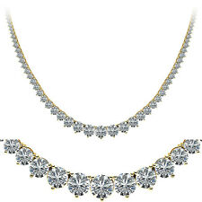 "25.5 carat Round Diamond Graduated Tennis Chain Necklace 14k Yellow Gold 18"" F-G"