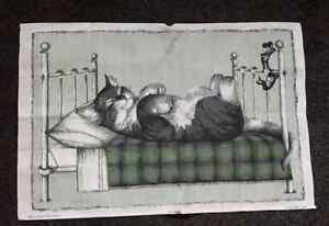 VINTAGE UNUSED TEA TOWEL - CAT IN HUMAN BED WITH MICE - DUNMOY - IRISH LINEN
