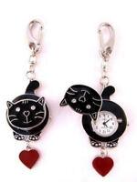 Black Cat FOB Pocket Watch for Doctors Nurses Paramedics Chefs Extra Battery