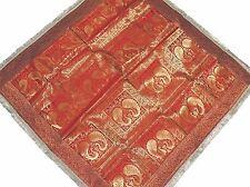 "Maroon Peacock Table Linens - Brocade Zari Indian Sari Tablecloth Topper 48"""