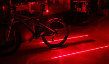 Bicycle Bike Rear Lights Red Laser Beam Cycling 5 LED Tail Lamp + Battery