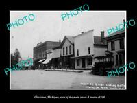 OLD LARGE HISTORIC PHOTO OF CLARKSTON MICHIGAN, THE MAIN STREET & STORES c1910