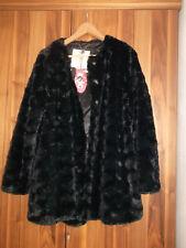 Esprit Fake Fur PELZMANTEL JACKE AUS KUNSTFELL Gr. XL 42 Schwarz