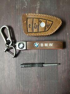 Brown Leather BMW Model B Key Fob Holder & Key Chain