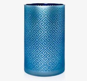 YANKEE CANDLE GREEK ISLE GREEK KEY PATTERN GLASS JAR CANDLE HOLDER RETIRED VHTF