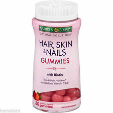 Hair Skin & Nails Gummies w/ BIOTIN Antioxidants Vitamin C & E 80 Count
