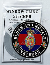 BLUES AND ROYALS - VETERAN, WINDOW CLING STICKER  8.7cm Diameter
