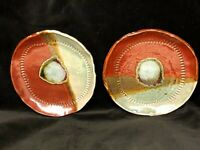"Pair Studio Art Pottery Signed RS 7"" Plate Rust & Aqua textured Rim glaze"