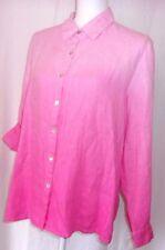 Studio Works 100% Linen PL Long Sleeve Button Down Shirt PINK OMBRE Roll Cuffs