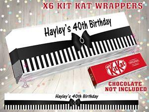 PERSONALISED Black Striped Kit Kat Label / Wrapper Party Bag Filler 18th 21st 30