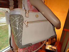 NWT TORY BURCH FRANCES Mixed Satchel  $525  DUSTBAG Natural/SNAKE