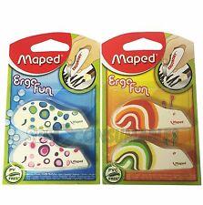 Maped 119710 Ergo Fun Fancy Eraser - Assorted Design Pack of 2 Childrens Erasers