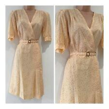 Vintage 70s Pretty Cream Ditsy 40's Revial 40's Style Belted Tea Dress Size 12