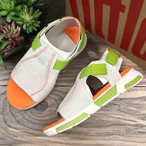 NIB FitFlop Alyssa Adjustable Back Strap Sport Sandal Lime Green/White Womens 8
