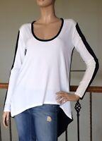 BCBGMAXAZRIA Off White Combo Long-Sleeve Asymmetrical-Hem Top Size M NWT 108$