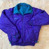 Vintage Columbia Bomber Jacket 90's Reversible Teal Purple Size Womens L Large