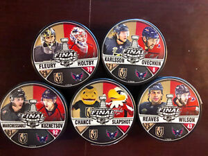 VEGAS GOLDEN KNIGHTS WASH CAPITALS STANLEY CUP 5 PUCK MATCHUP SET T-MOBILE EX
