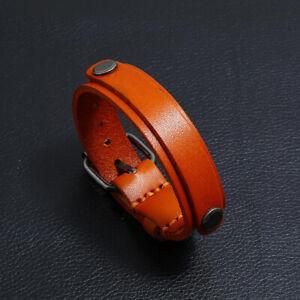 Punk Mens Genuine Leather Bracelet Bangle Wristband Adjustable Cuff Wrap Jewelry