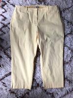 NEW TALBOTS SIZE 24 W WOMAN Yellow Crop Chino Pants Cotton Stretch Elastic Sides