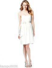 New M&S Collection Ivory Strapless Spotted Mesh Prom Belted Dress Sz UK 10