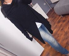 M L Fein strick Jacke NEU Lana Modal Wolle Weste Cardigan Blogger schwarz Long