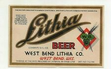 12oz Irtp Lithia Beer Bottle Label by West Bend Lithia Co West Bend Wis