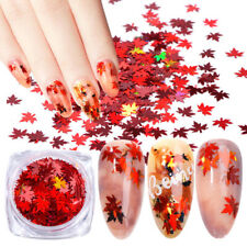 Autumn Maple Leaf Nail Art Glitter Snowflake Sequins Spangle Flakes Sticker Tips