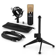 auna LED USB Kondensator Studio Mikrofon Spinne Tischstativ Tasche schwarz/gold