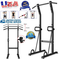 Power Tower Pull Up Bar Dip Station Adjustable Height Home Gym Fitness Exercise