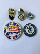 COLLECTION OF 5 FOOTBALL FA PIN BADGES CHELSEA DERBY LEICESTER MAN CITY