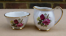 CROWN DEVON FIELDING Sugar Bowl and Milk Jug decorated with Flowers