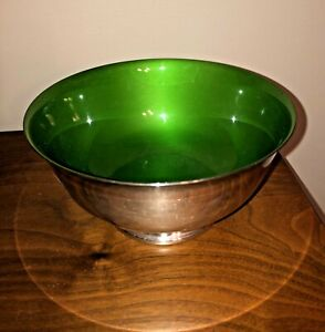 Vintage 1960's Reed & Barton Silver-plated Bowl #1120 Bright Green Enamel