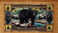 LARGE BLACK BEAR GRIZZLY PANEL WALL HANGING FABRIC MATERIAL QUILTS HOME DECOR #2