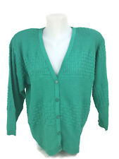 Vintage 1980s COURREGES France Women's Bright Green Knit Cardigan Sweater Size A