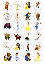 24 Beauty & The Beast Wafer / Rice Paper Cupcake Topper Edible Fairy Cake Tops