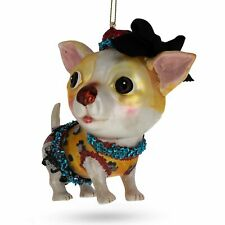 Dressed Chihuahua Glass Christmas Ornament