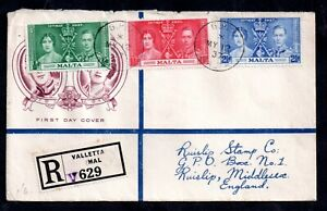 Malta 1937 Coronation Illustrated Registered FDC WS17193