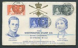 12.05.1937 British Honduras KGVI Coronation set stamps on illust. FDC to GB UK