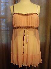 Victoria's Secret- Sheer Lingere Pink With Brown Trim & Adjustable Straps Sz. XS