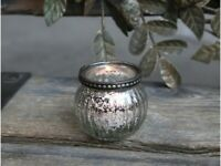 Chic Antique Kerzenhalter Kerzenständer Teelichthalter Glas mit Perlenkante H5,5