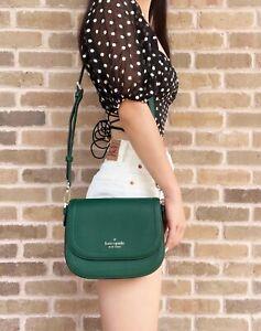 Kate Spade Blake Saddle Flap Bag Crossbody Half Moon Deep Jade Green Leather