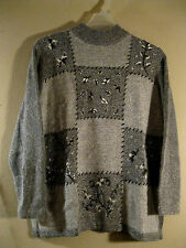 Dressbarn L Sweater New With Tags Angora & Silk Gray Black White  SOFT ANGORA!