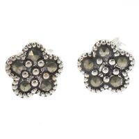 Sterling Silver Flower Design Stud Earrings with Marcasite - Diameter 8mm