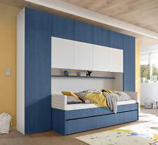 Jugendzimmer Set Bettbrücke Kleiderschrank Bett 90x200cm blau weiß 555106
