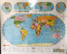 Pull Down School Map 1 Layer World. Vintage, Salvage, Old, Antique.
